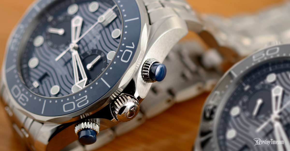 Omega Seamaster Diver 300m Chronograph Crown and pushers